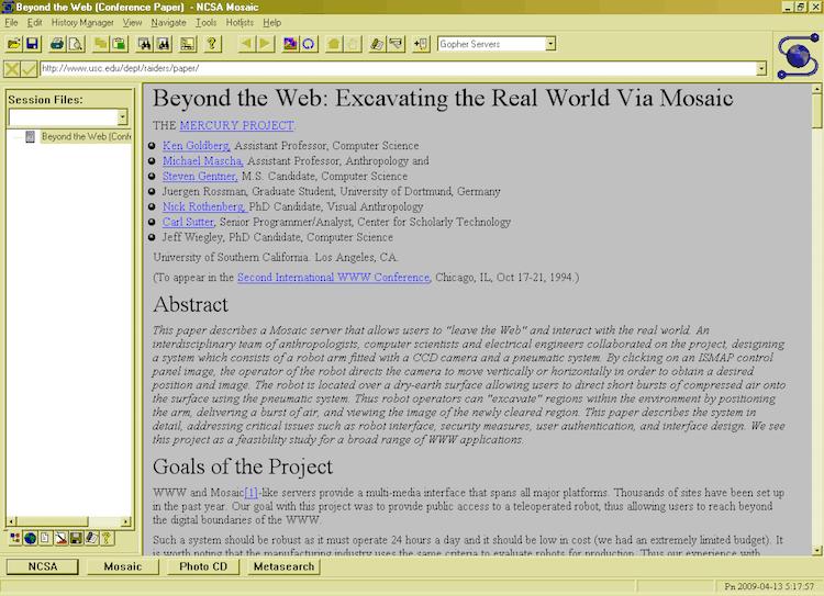 Mosaik web browser and color of hyperlinks