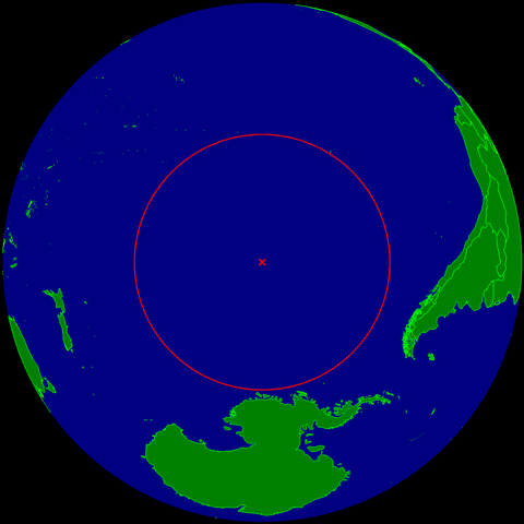 A map showing Point Nemo in the Pacific Ocean