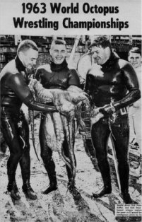 Three men holding a octopus during the octopus wrestling championship in 1963