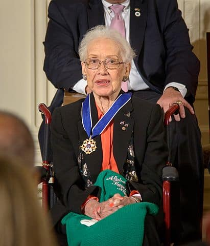Katherine Johnson in 2015 sitting on a wheelchair after having received the Medal of Freedom.