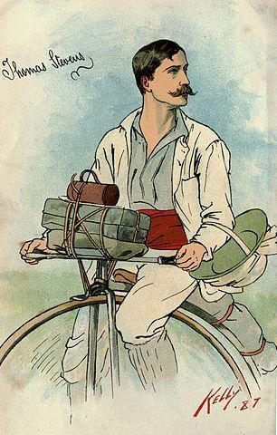 Thomas Stevens sitting on a penny-farthing.
