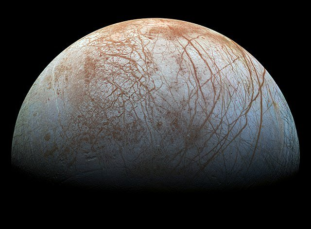 "Picture of Jupiter moon Europa by the spacecraft ""Galileo""."