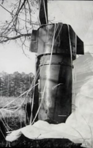 The Mk 39 nuclear weapon at Goldsboro was found largely intact, with its parachute still attached.