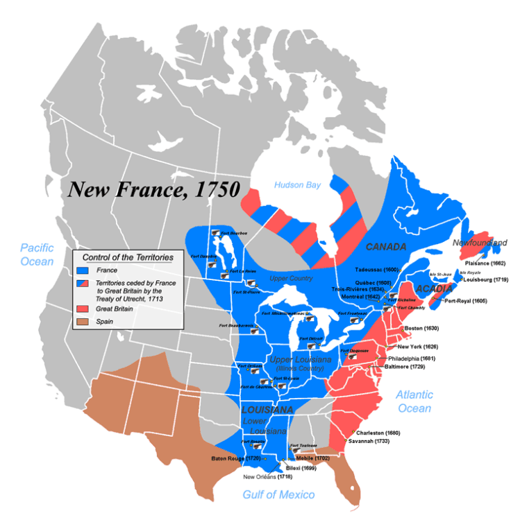Map of New France