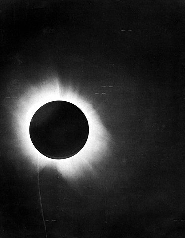Arthur Eddington's photograph of the solar eclipse that proofed Einsteins theory of relativity.