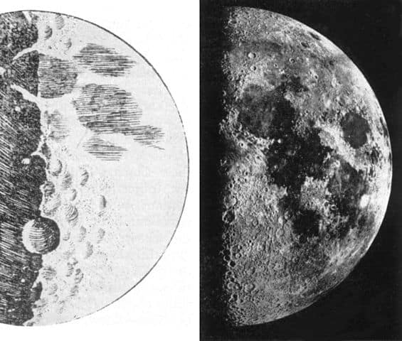 The Moon as drawn by Galileo Galilei on the left side and and photographic image on the right side.