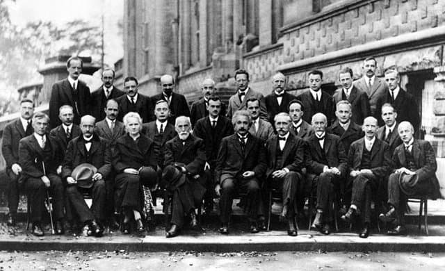 Einstein together with the world's top physicists at the Solvay conference in 1927.