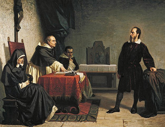 A painting showing Galileo facing the Roman Inquisition by Cristiano Banti.