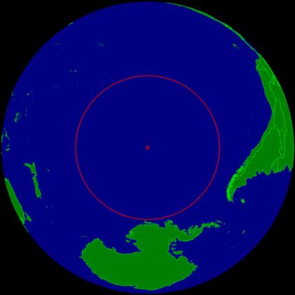 Eine Karte, die den Standort von Point Nemo zeigt.