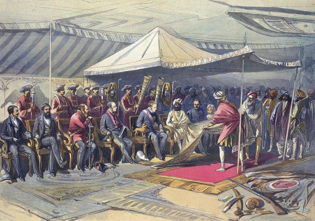 Die britische Besatzungsmacht in Verhandlungen mit der indischen Bevölkerung in 1875.